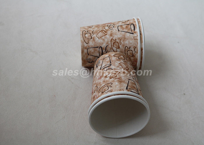 Takeaway Disposable Paper Cups With Lids , Custom Printed Paper Coffee Cups
