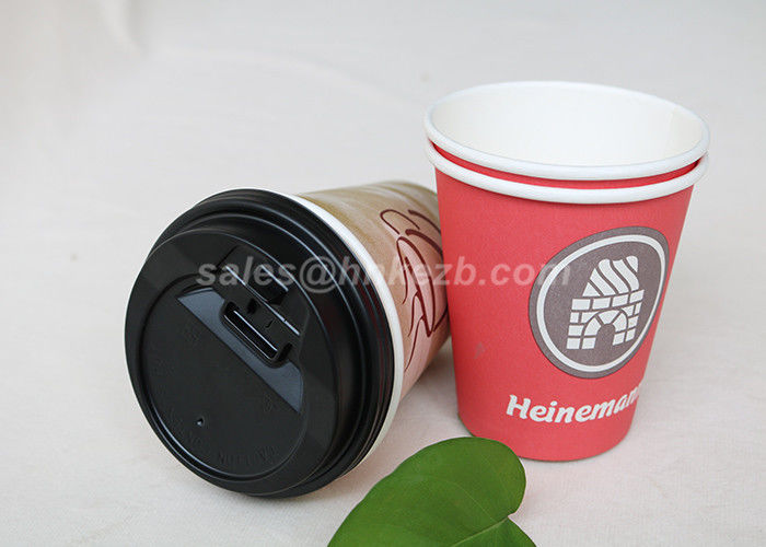 Disposable Food Grade Single Wall Paper Cups PE Coated With Lids For Coffee / Tea