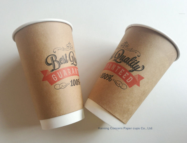 Various Size Kraft paper brown Custom Printed Double Wall Paper Cup for coffee